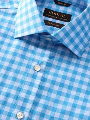 Vivace Blue Cotton Classic Fit Formal Checks Shirt