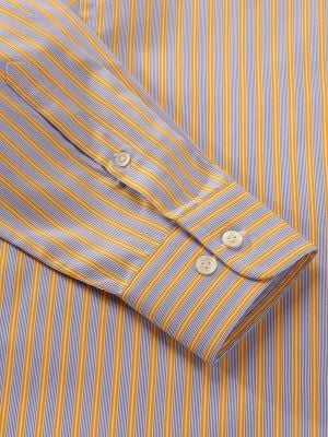 Vivace Yellow Cotton Tailored Fit Formal Stripes Shirt