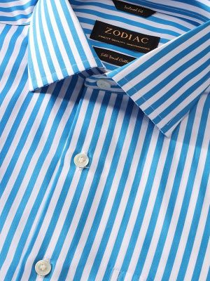 Vivace Blue Cotton Tailored Fit Formal Stripes Shirt