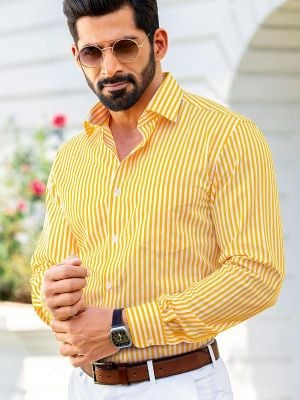 Vivace Tailored Fit Yellow Shirt
