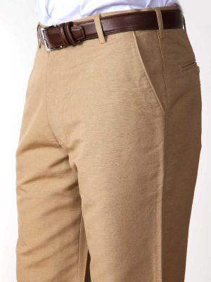 Portofino Linen Classic Fit Beige Trouser