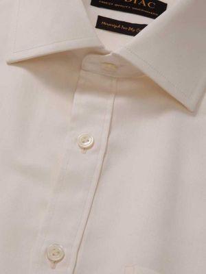 Antonello Cream Cotton Classic Fit Formal Solids Shirt