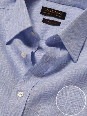 Positano Sky Linen Classic Fit Casual Checks Shirt
