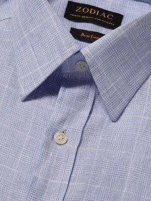 Positano Sky Linen Tailored Fit Casual Checks Shirt