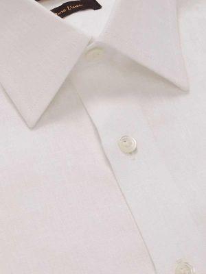 Positano Linen Tailored Fit Short Sleeves White Shirt