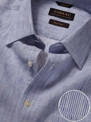 Positano Blue Linen Tailored Fit Casual Stripes Shirt