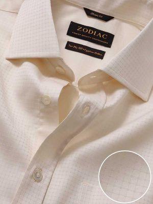 Ponte Cream Cotton Classic Fit Formal Checks Shirt