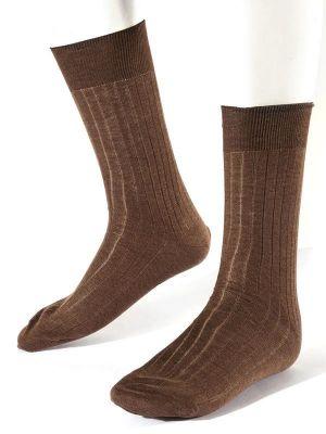Moderena Melange Rib Brown Socks