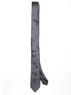 ZT-180 Solid D. Grey Slim Tie
