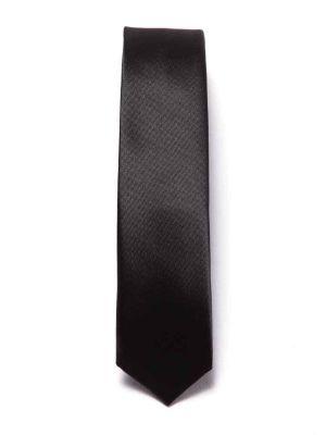 ZT-185 Solid Black Slim Tie