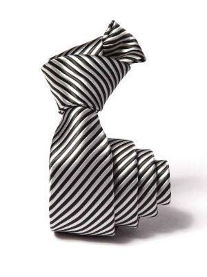 ZT-209 Striped Silver Slim Tie