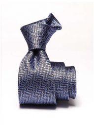 Campania Slim Structure Navy Silk Tie