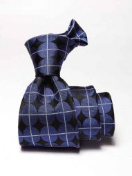 Como Slim Checks Medium Blue Silk Tie