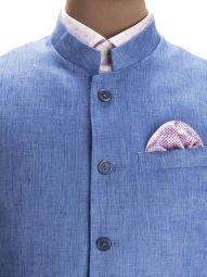 Positano Blue Linen Solid Suit