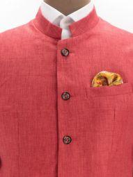 Positano Red Linen Solid Suit