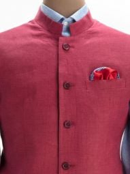 Positano Wine Linen Tailored Fit Solid Suit