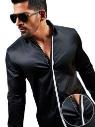 Aegon Black Cotton Slim Fit Solid Shirt