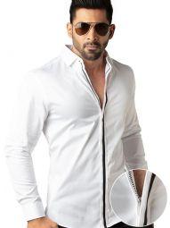 Aegon White Cotton Slim Fit Solid Shirt