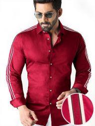 Alec Red Blended Slim Fit Solid Shirt