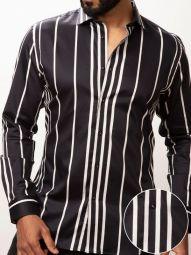 Angelo Black Blended Slim Fit Striped Shirt