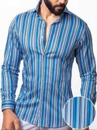 Antonio Blue Blended Slim Fit Striped Shirt