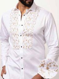 Bond White Cotton Slim Fit Solid Shirt