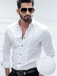Bond White Cotton Slim Fit Tuxedo Shirt