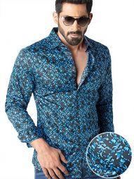 Calderoni Cobalt Blended Slim Fit Printed Shirt