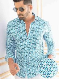 Carrillo Sky Blended Slim Fit Printed Shirt