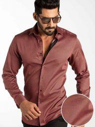 Diego Rust Blended Slim Fit Printed Shirt