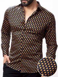 Domenico Black Blended Slim Fit Printed Shirt