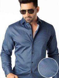 Dominic Blue Blended Slim Fit Printed Shirt