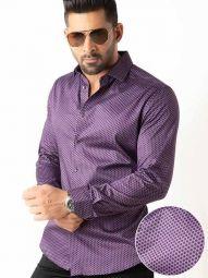Dominic Purple Blended Slim Fit Printed Shirt