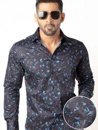 Euron Navy Blended Slim Fit Printed Shirt