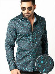 Euron Teal Blended Slim Fit Printed Shirt