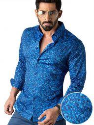 Felix Cobalt Blended Slim Fit Printed Shirt