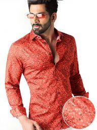 Felix Coral Blended Slim Fit Printed Shirt