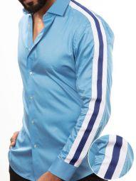 Flavio Blue Blended Slim Fit Solid Shirt