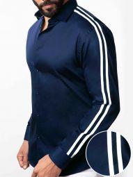 Flavio Navy Blended Slim Fit Solid Shirt