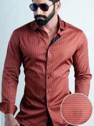 Headhunter Red Blended Slim Fit Printed Shirt