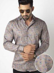 Jaimie Light Grey Blended Slim Fit Printed Shirt