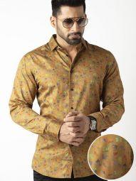 Jaimie Ochre Blended Slim Fit Printed Shirt