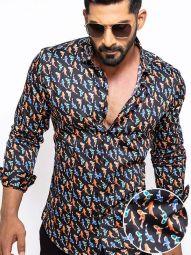 Kois Black Blended Slim Fit Printed Shirt