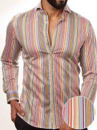 Lorenzo Orange Blended Slim Fit Striped Shirt