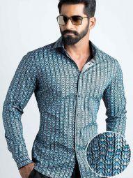 Marlo Blue Blended Slim Fit Printed Shirt