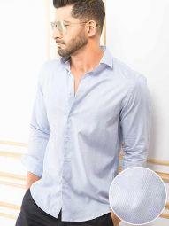 Murphy Blue Blended Slim Fit Printed Shirt