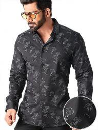 Neto Black Blended Slim Fit Printed Shirt