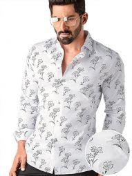 Neto White Blended Slim Fit Printed Shirt