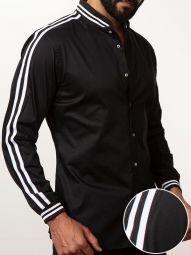 Nicolo Black Blended Slim Fit Solid Shirt