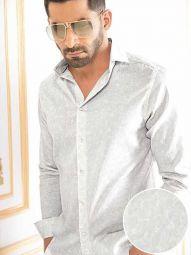Pablo Light Grey Blended Slim Fit Printed Shirt